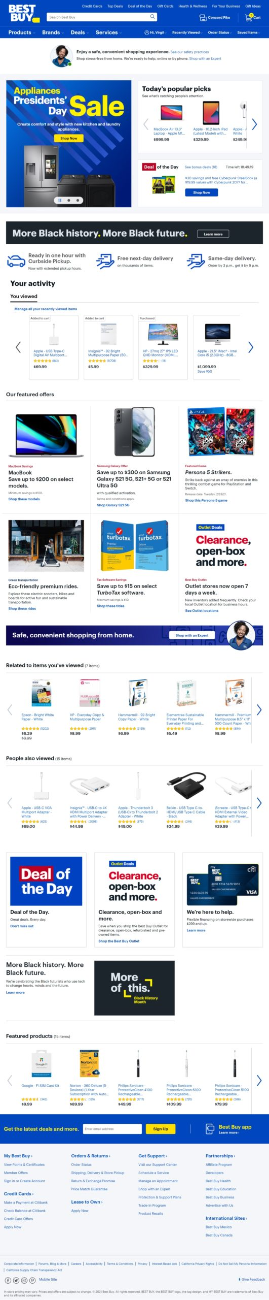 Best Buy Home Page>