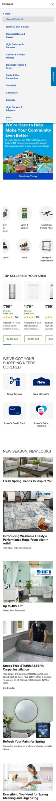 Lowes Dropdown Menu Mobile>