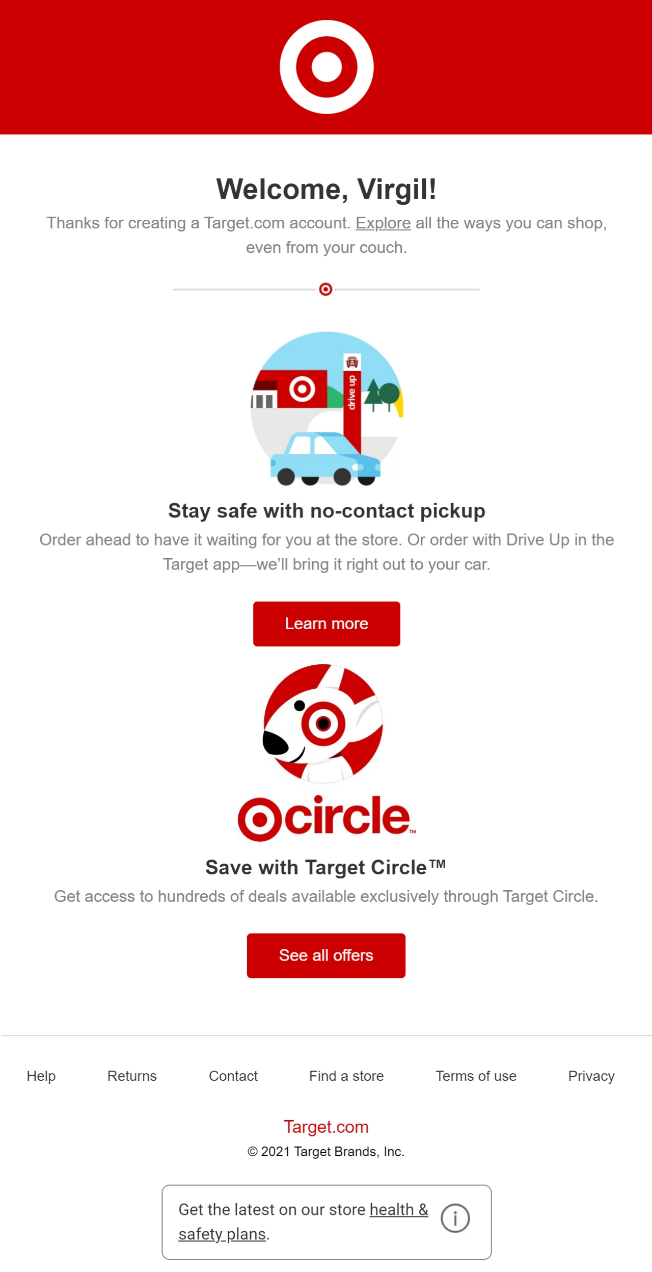 Target Welcome Email>