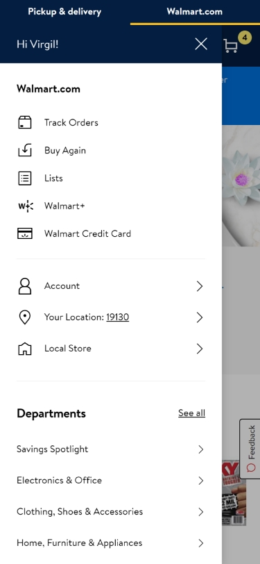 Walmart Dropdown Menu Mobile>