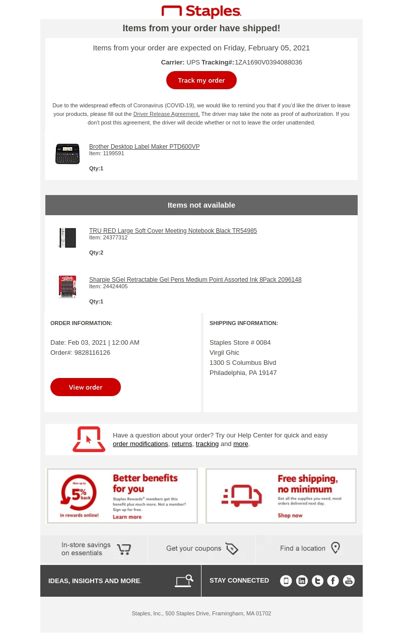 Staples Order Shipped Email>